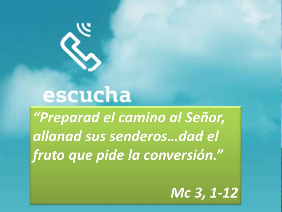 Preparad el camino al Señor, allanad sus senderos…dad el fruto que pide la conversión.