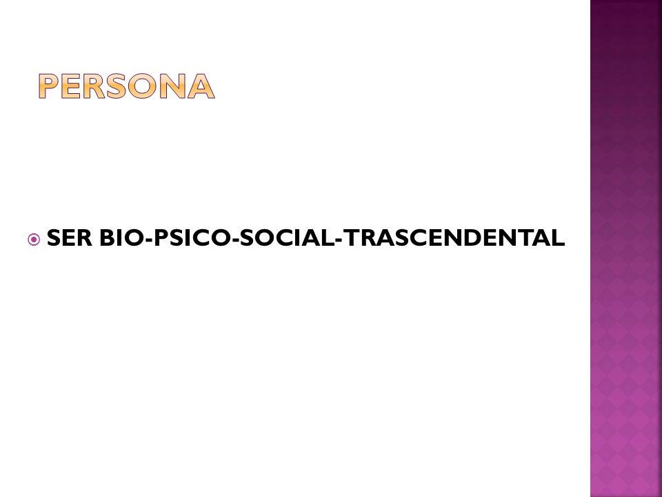 SER BIO-PSICO-SOCIAL-TRASCENDENTAL