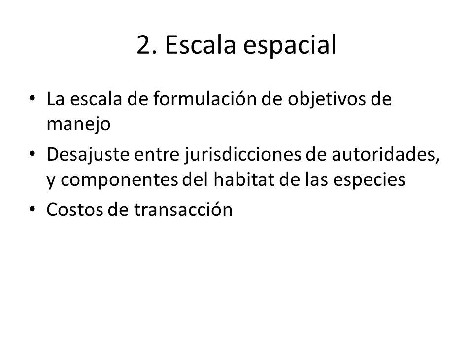 2. Escala espacial La escala de formulación de objetivos de manejo