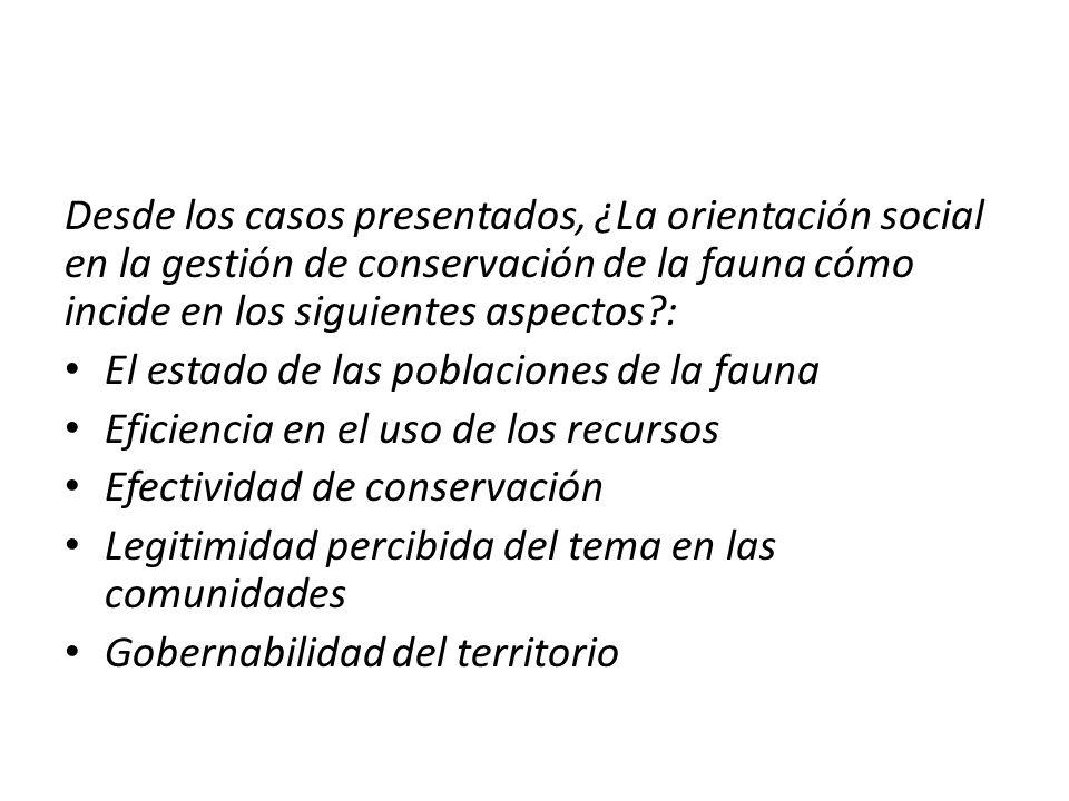 Desde los casos presentados, ¿La orientación social en la gestión de conservación de la fauna cómo incide en los siguientes aspectos :