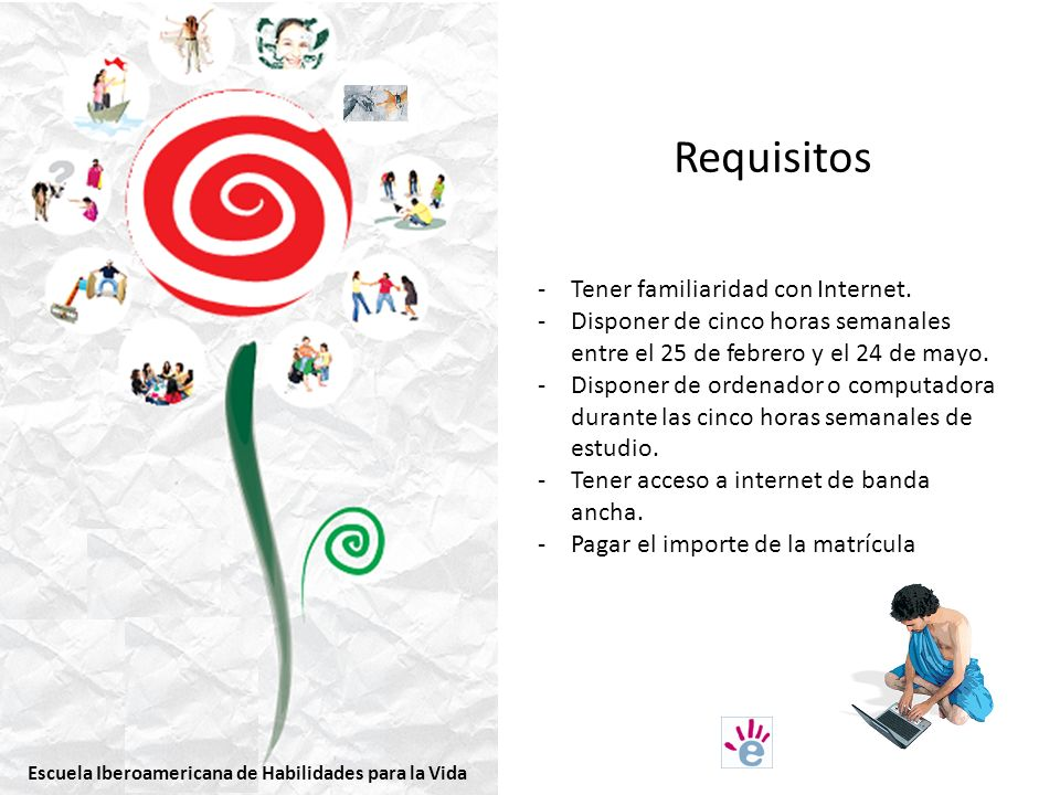 Requisitos Tener familiaridad con Internet.