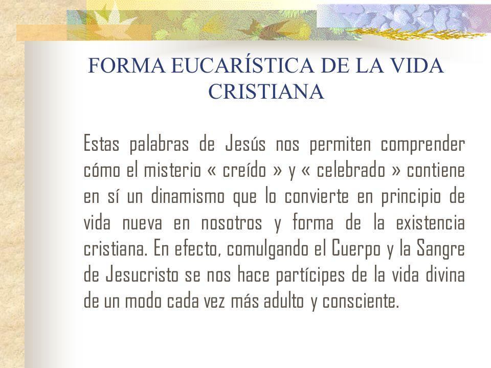 FORMA EUCARÍSTICA DE LA VIDA CRISTIANA