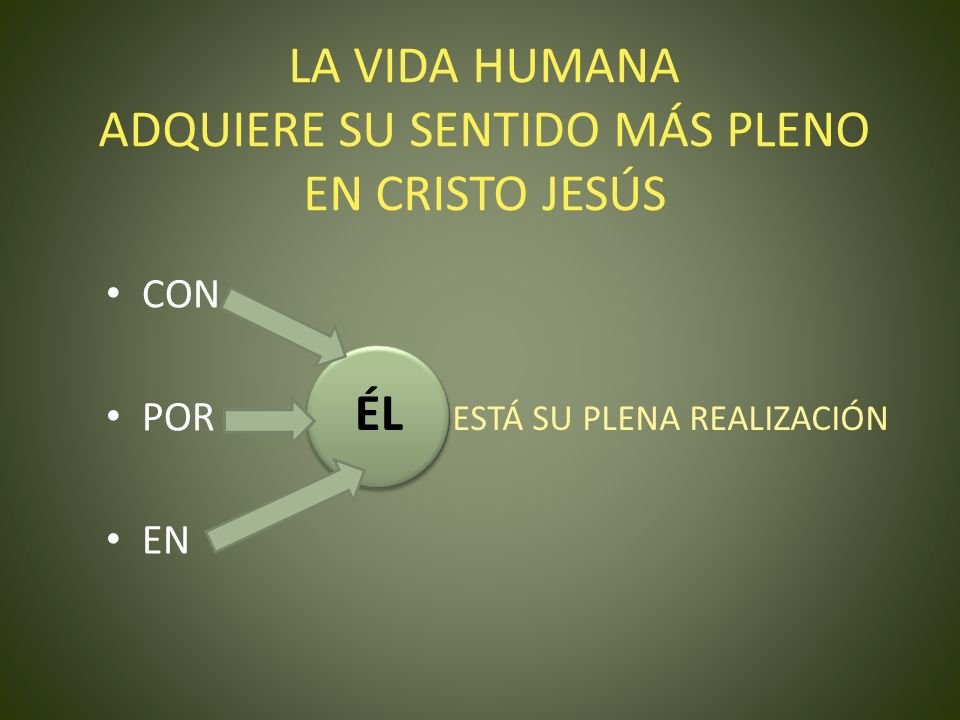 LA VIDA HUMANA ADQUIERE SU SENTIDO MÁS PLENO EN CRISTO JESÚS