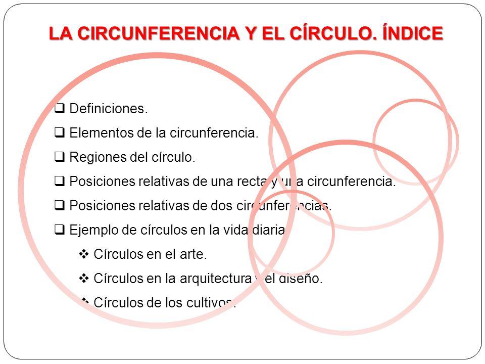 LA CIRCUNFERENCIA Y EL CÍRCULO. ÍNDICE