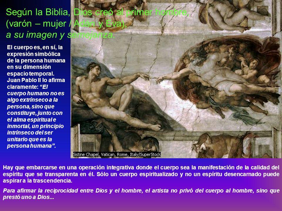 Según la Biblia, Dios creó al primer hombre, (varón – mujer / Adán y Eva),