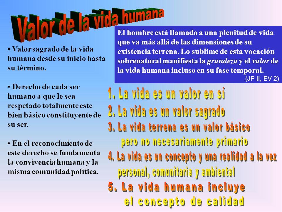 Valor de la vida humana El hombre está llamado a una plenitud de vida