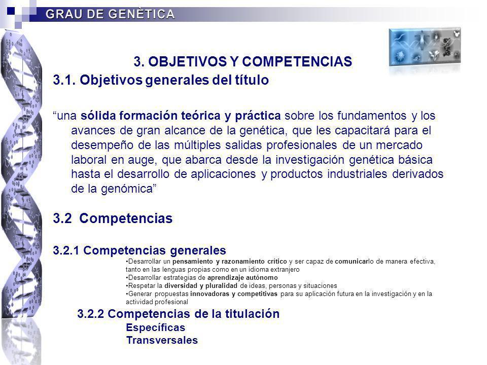 3. OBJETIVOS Y COMPETENCIAS 3.1. Objetivos generales del título