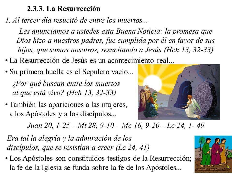 2.3.3. La Resurrección 1. Al tercer día resucitó de entre los muertos...