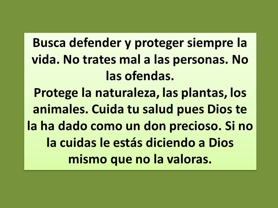 Busca defender y proteger siempre la vida. No trates mal a las personas. No las ofendas.