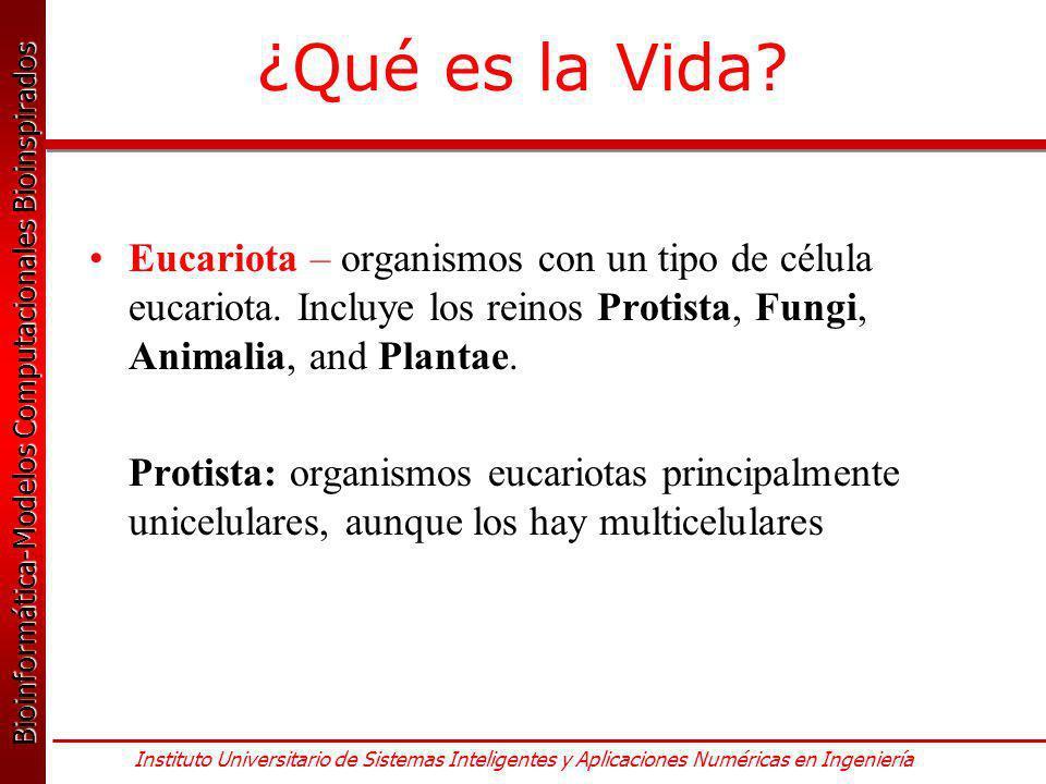 ¿Qué es la Vida Eucariota – organismos con un tipo de célula eucariota. Incluye los reinos Protista, Fungi, Animalia, and Plantae.
