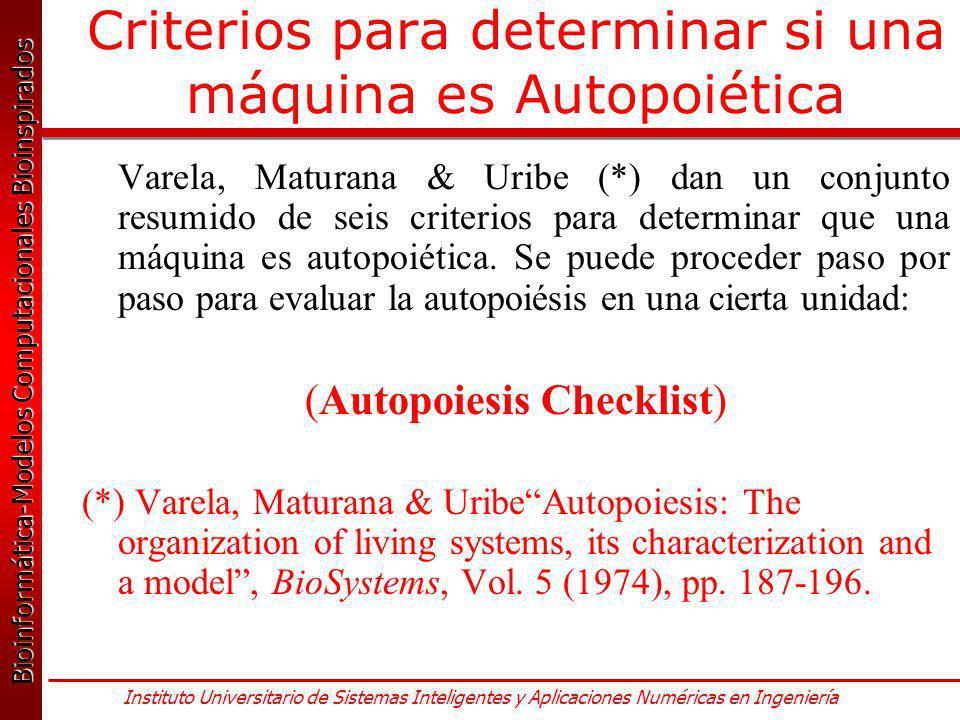 Criterios para determinar si una máquina es Autopoiética