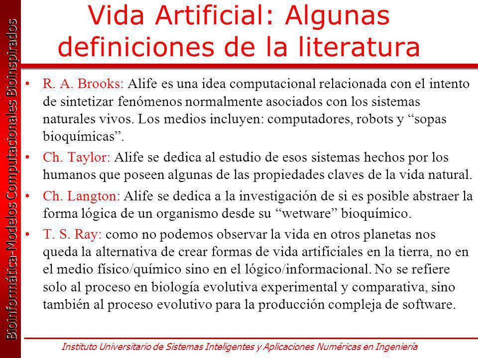 Vida Artificial: Algunas definiciones de la literatura