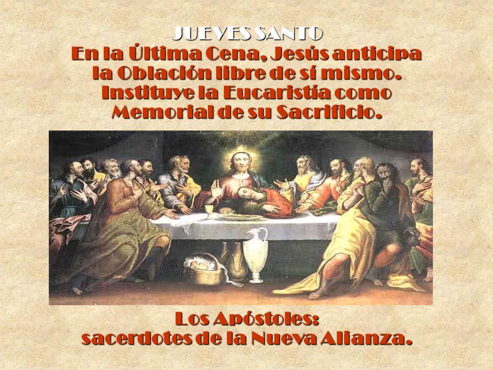 En la Última Cena, Jesús anticipa la Oblación libre de sí mismo.