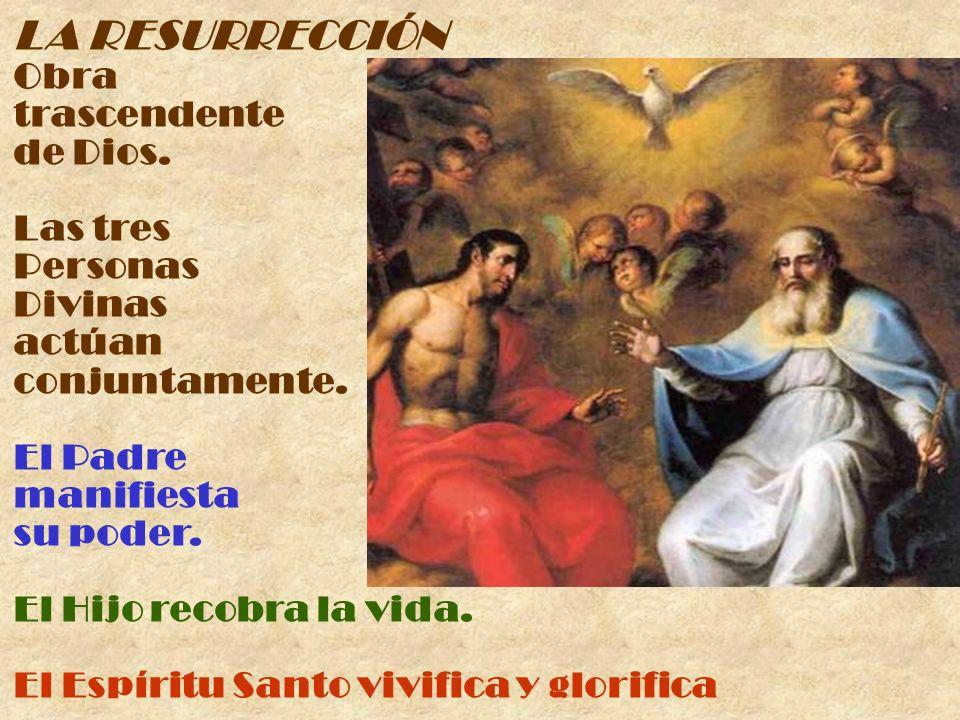 LA RESURRECCIÓN Obra trascendente de Dios. Las tres Personas