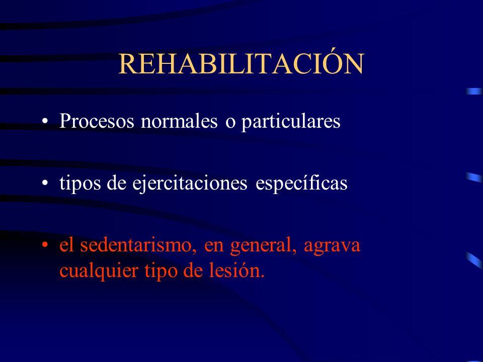 REHABILITACIÓN Procesos normales o particulares