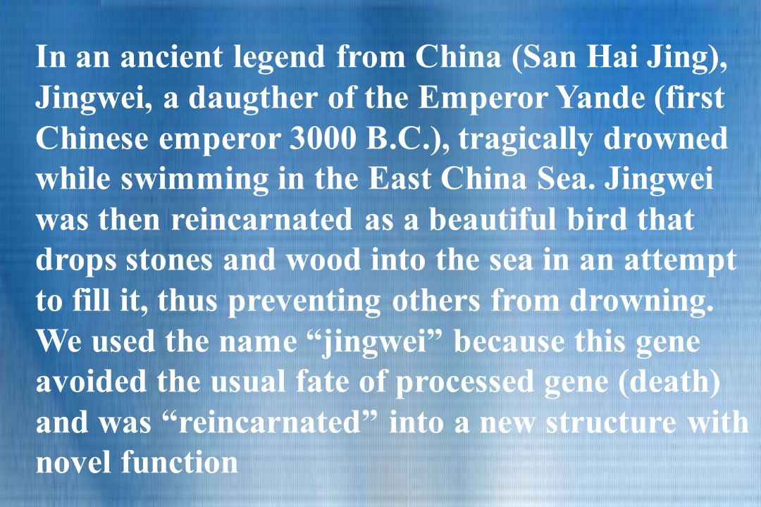 In an ancient legend from China (San Hai Jing), Jingwei, a daugther of the Emperor Yande (first Chinese emperor 3000 B.C.), tragically drowned while swimming in the East China Sea.