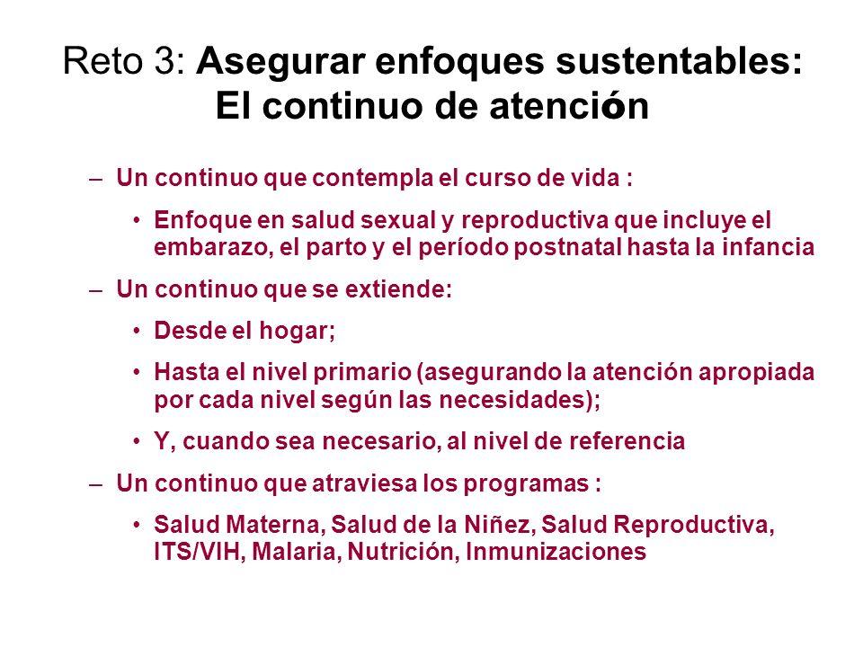 Reto 3: Asegurar enfoques sustentables: El continuo de atención