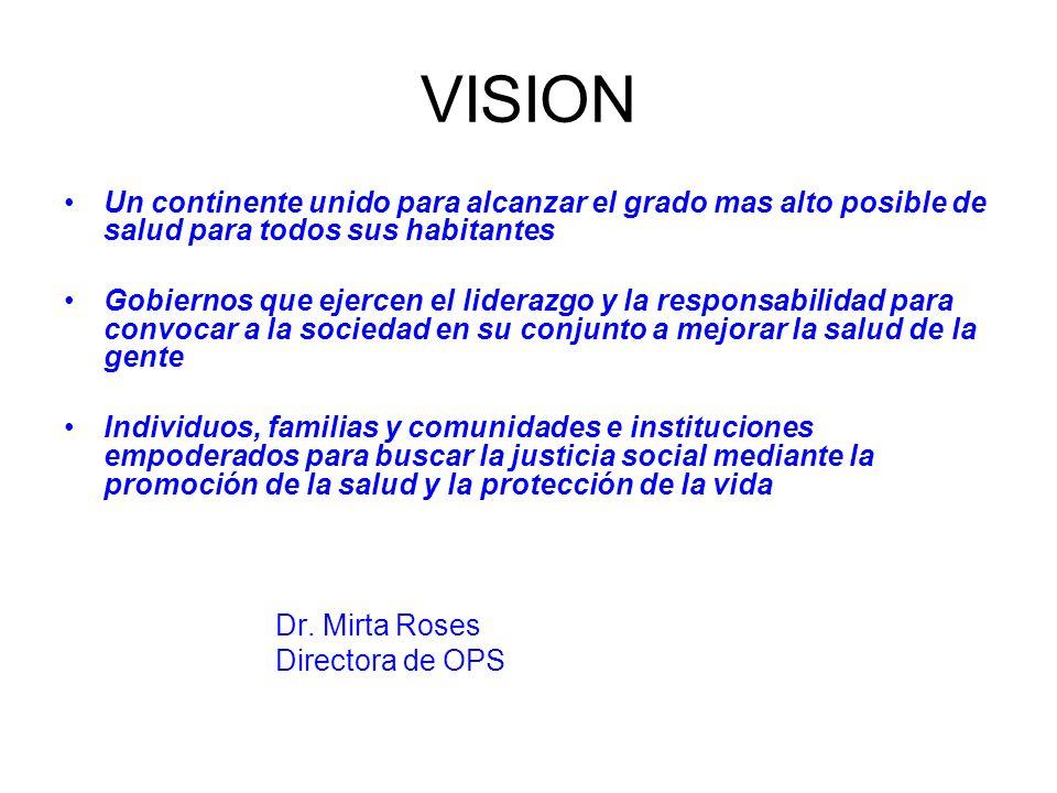 VISION Un continente unido para alcanzar el grado mas alto posible de salud para todos sus habitantes.
