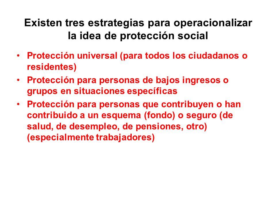 Existen tres estrategias para operacionalizar la idea de protección social