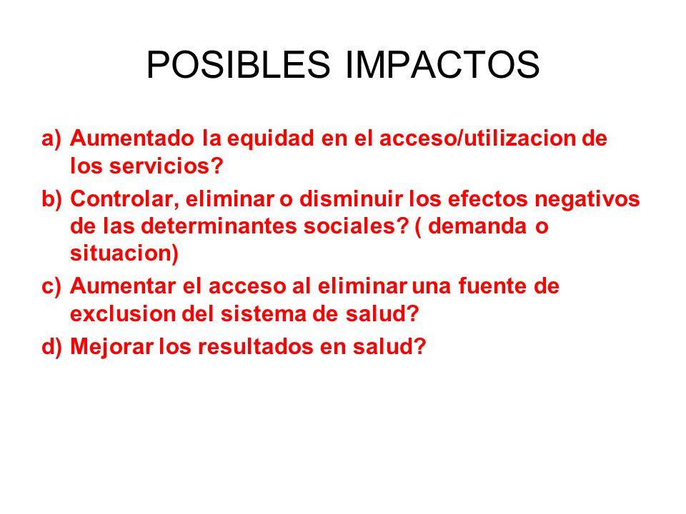 POSIBLES IMPACTOS Aumentado la equidad en el acceso/utilizacion de los servicios