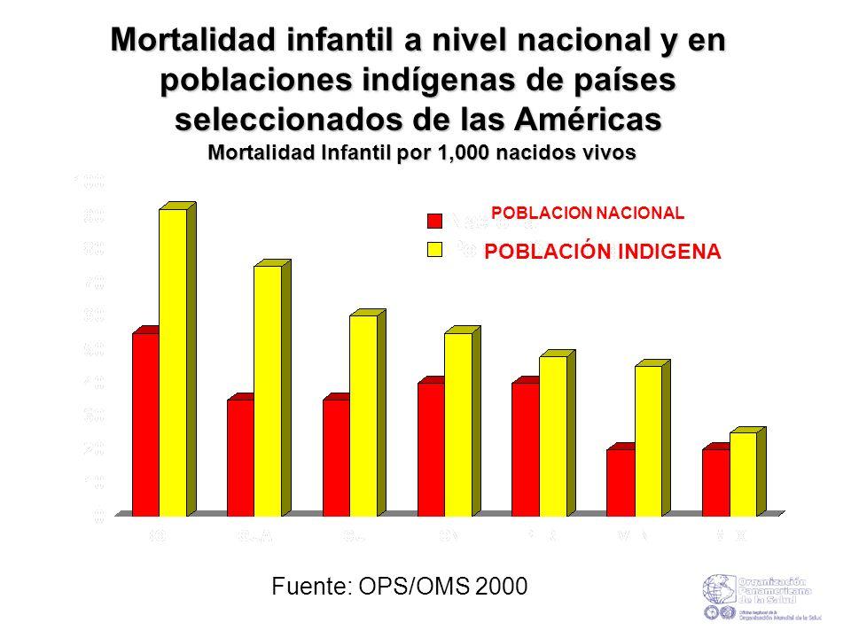 Mortalidad infantil a nivel nacional y en poblaciones indígenas de países seleccionados de las Américas