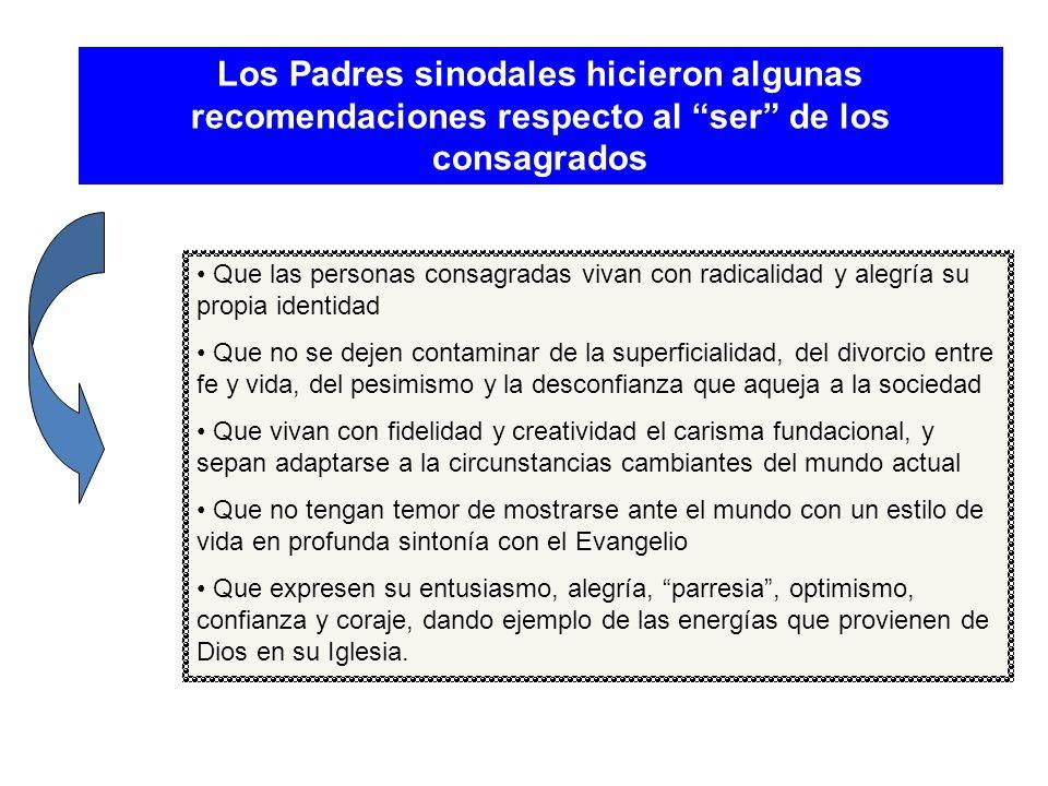 Los Padres sinodales hicieron algunas recomendaciones respecto al ser de los consagrados