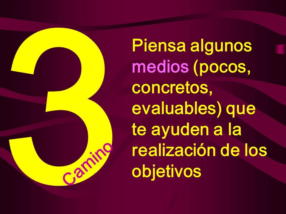 3 Piensa algunos medios (pocos, concretos, evaluables) que te ayuden a la realización de los objetivos.