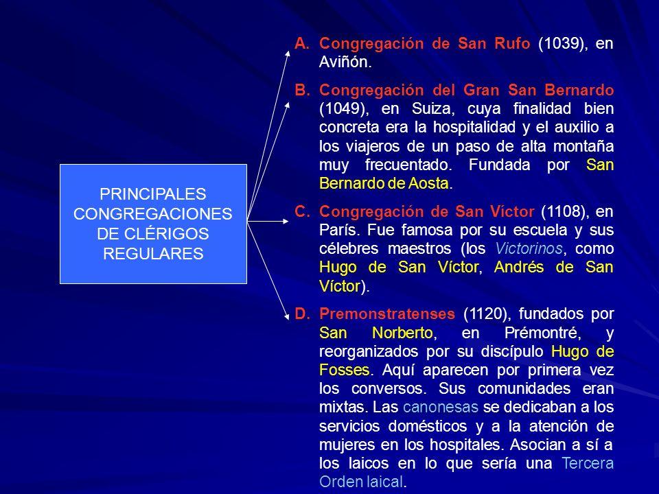 PRINCIPALES CONGREGACIONES DE CLÉRIGOS REGULARES