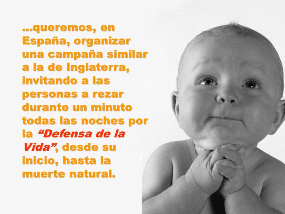 ...queremos, en España, organizar una campaña similar a la de Inglaterra, invitando a las personas a rezar durante un minuto todas las noches por la Defensa de la Vida , desde su inicio, hasta la muerte natural.
