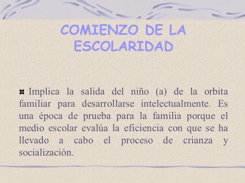 COMIENZO DE LA ESCOLARIDAD