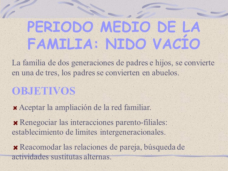 PERIODO MEDIO DE LA FAMILIA: NIDO VACÍO