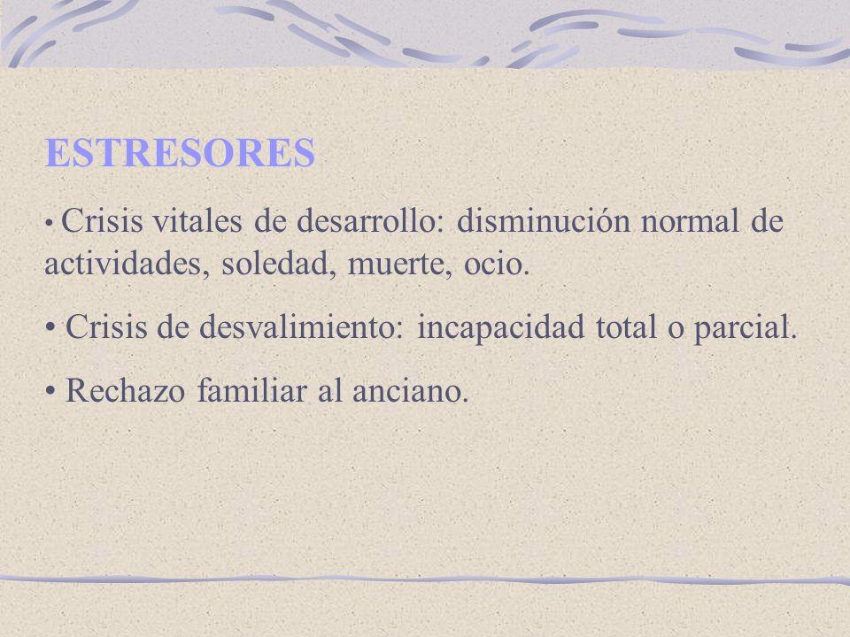 ESTRESORES Crisis de desvalimiento: incapacidad total o parcial.