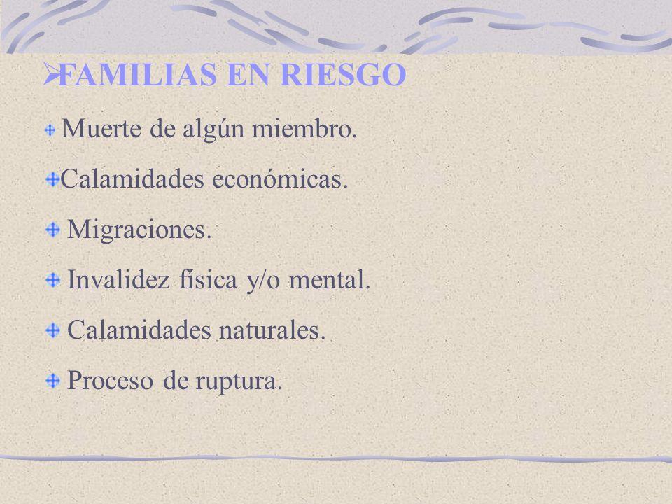 FAMILIAS EN RIESGO Calamidades económicas. Migraciones.
