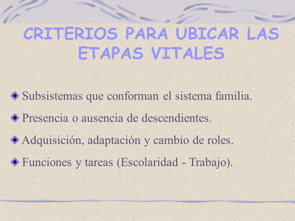 CRITERIOS PARA UBICAR LAS ETAPAS VITALES