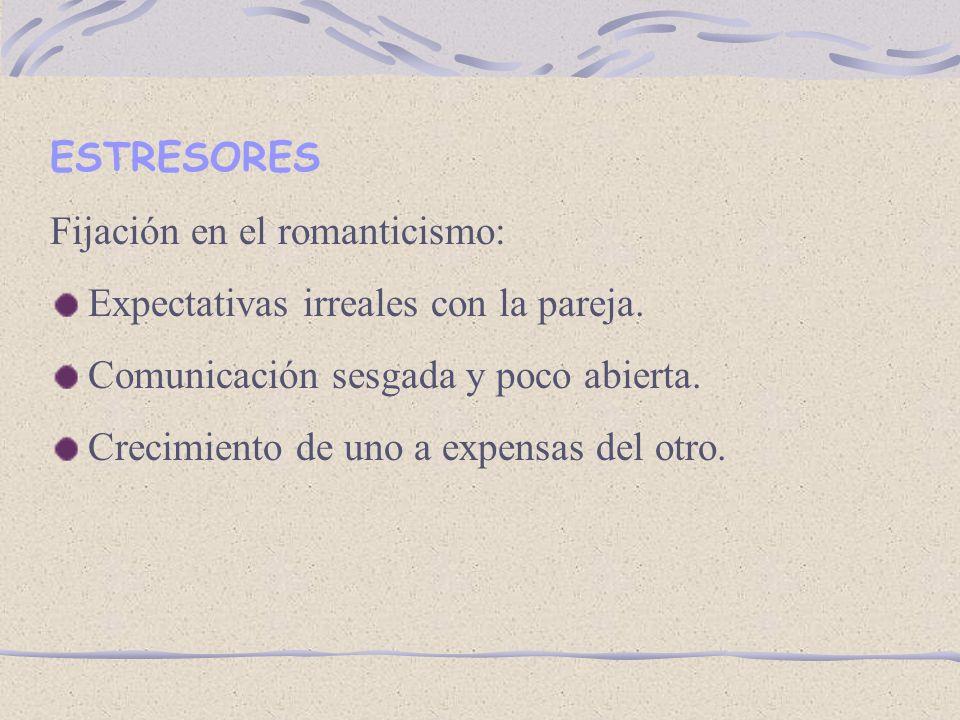 ESTRESORES Fijación en el romanticismo: Expectativas irreales con la pareja. Comunicación sesgada y poco abierta.