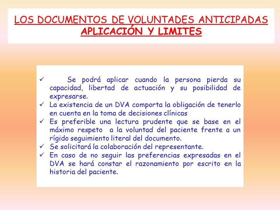 LOS DOCUMENTOS DE VOLUNTADES ANTICIPADAS APLICACIÓN Y LIMITES