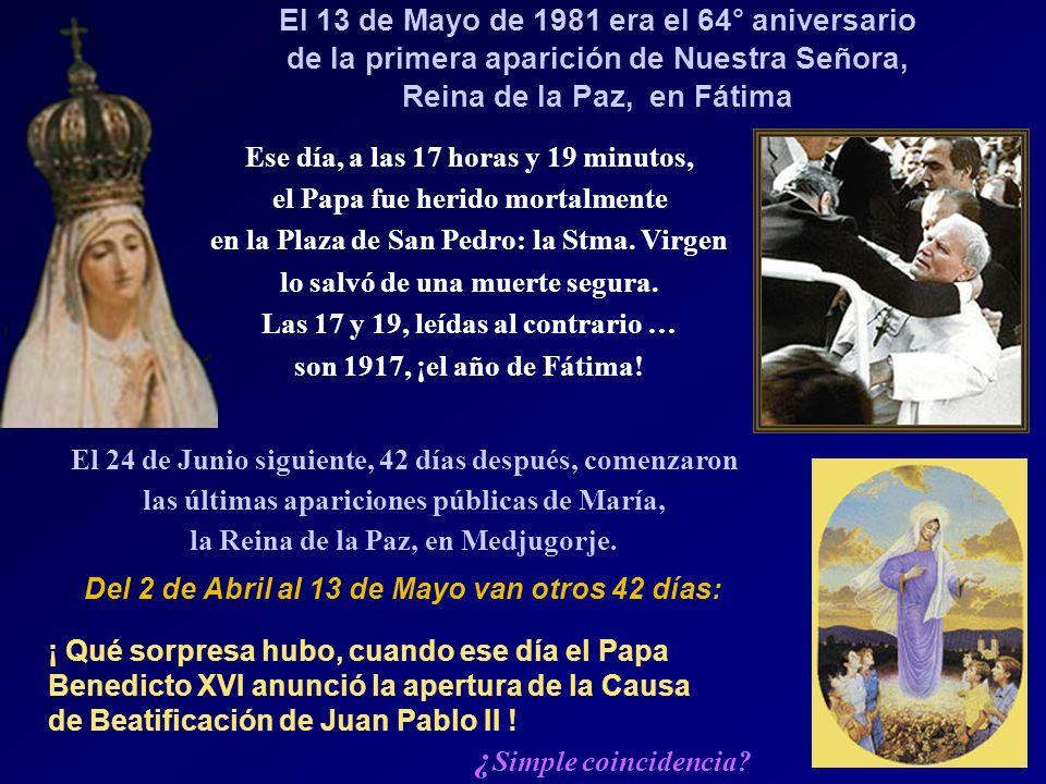 ¿Simple coincidencia El 13 de Mayo de 1981 era el 64° aniversario