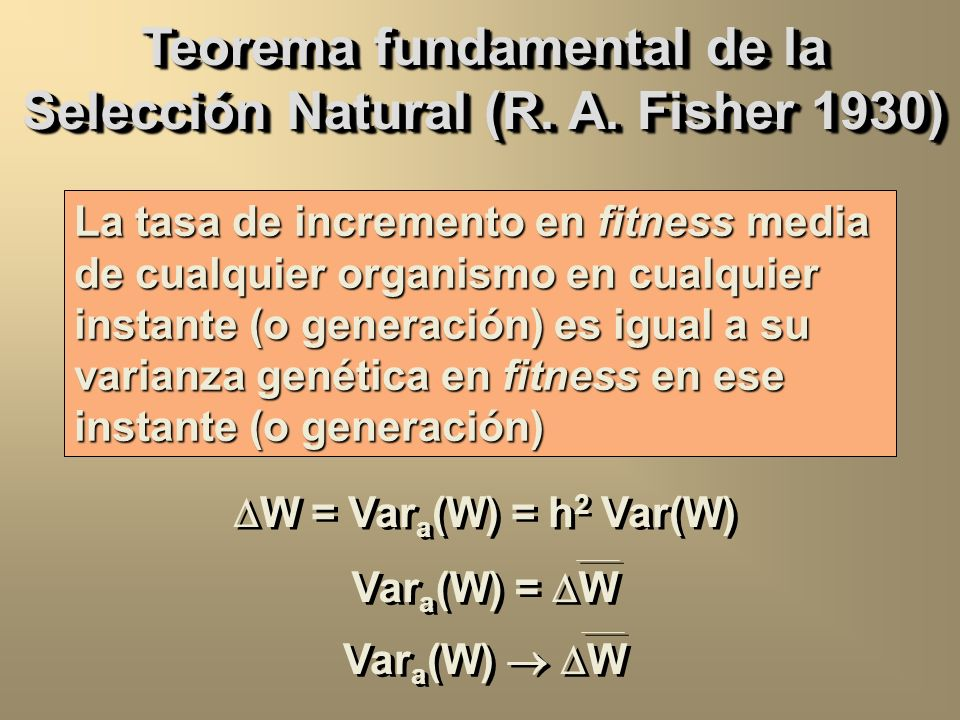 Teorema fundamental de la Selección Natural (R. A. Fisher 1930)