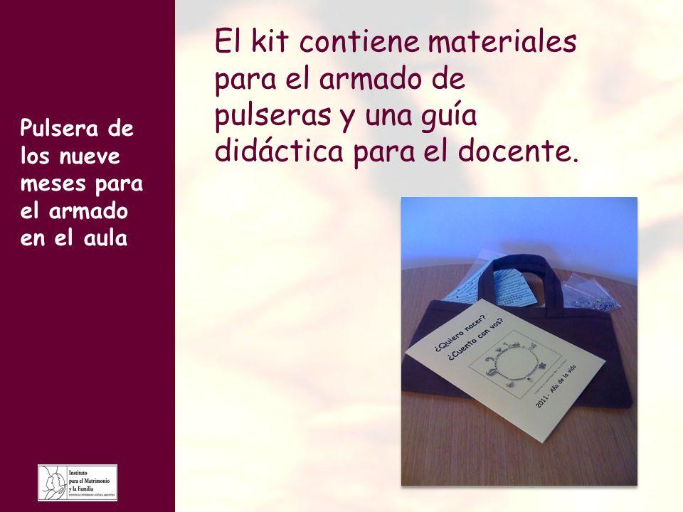 El kit contiene materiales para el armado de pulseras y una guía didáctica para el docente.
