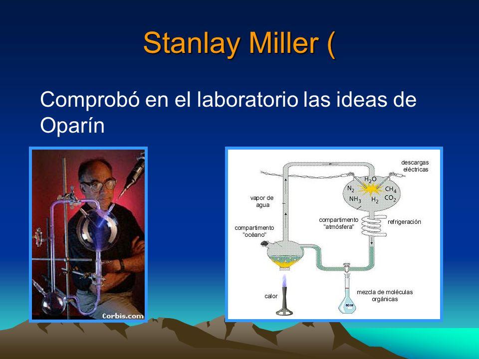Stanlay Miller ( Comprobó en el laboratorio las ideas de Oparín