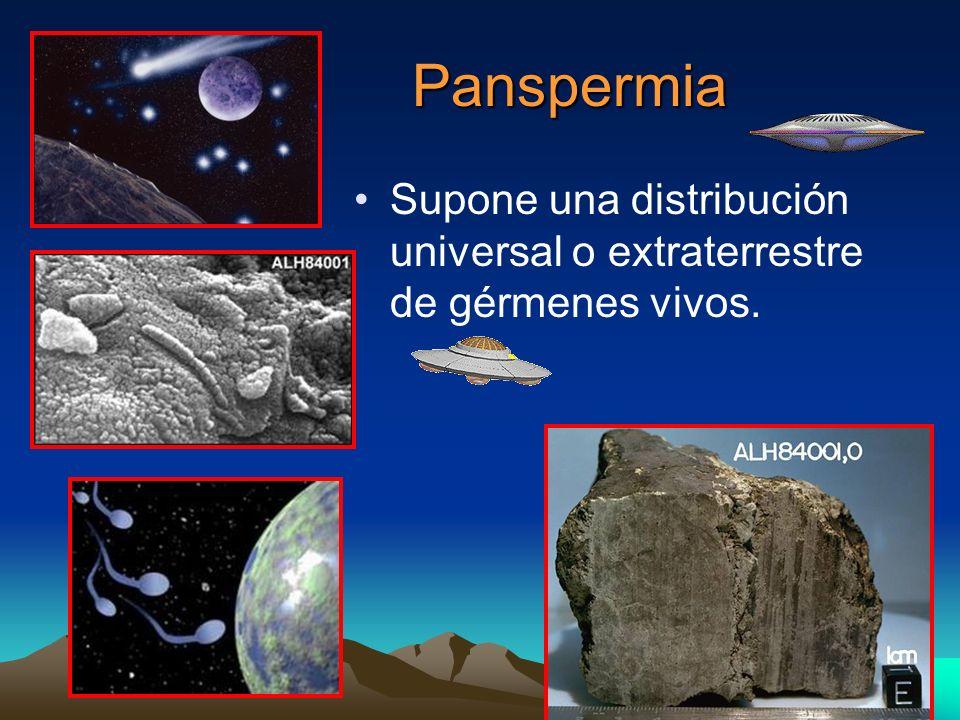 Panspermia Supone una distribución universal o extraterrestre de gérmenes vivos. Hay varios tipos de panspermia: