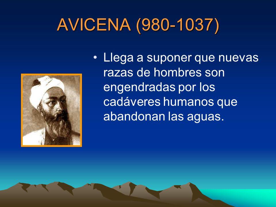 AVICENA (980-1037) Llega a suponer que nuevas razas de hombres son engendradas por los cadáveres humanos que abandonan las aguas.