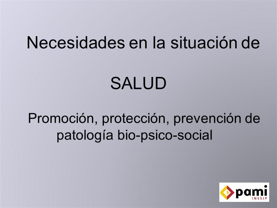 Necesidades en la situación de SALUD Promoción, protección, prevención de patología bio-psico-social