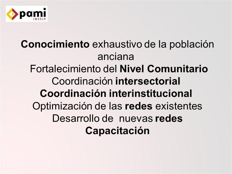 Conocimiento exhaustivo de la población anciana Fortalecimiento del Nivel Comunitario Coordinación intersectorial Coordinación interinstitucional Optimización de las redes existentes Desarrollo de nuevas redes Capacitación