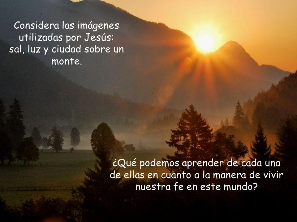 Considera las imágenes utilizadas por Jesús: sal, luz y ciudad sobre un monte.