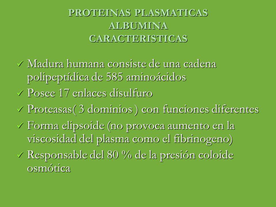 PROTEINAS PLASMATICAS ALBUMINA CARACTERISTICAS