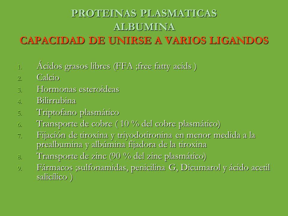 PROTEINAS PLASMATICAS ALBUMINA CAPACIDAD DE UNIRSE A VARIOS LIGANDOS