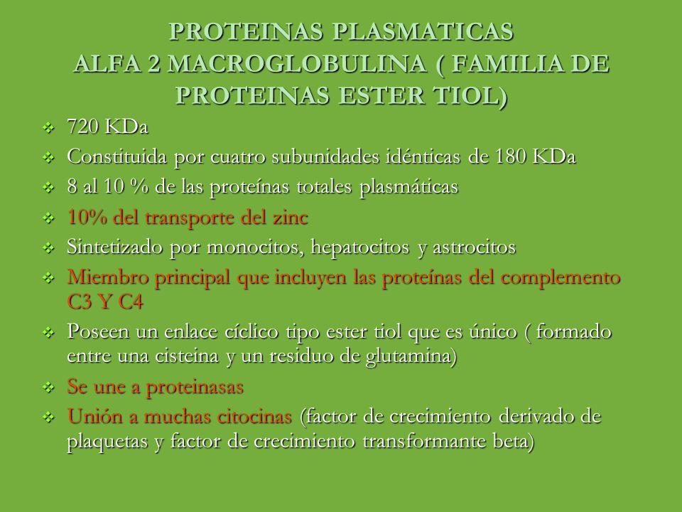 PROTEINAS PLASMATICAS ALFA 2 MACROGLOBULINA ( FAMILIA DE PROTEINAS ESTER TIOL)