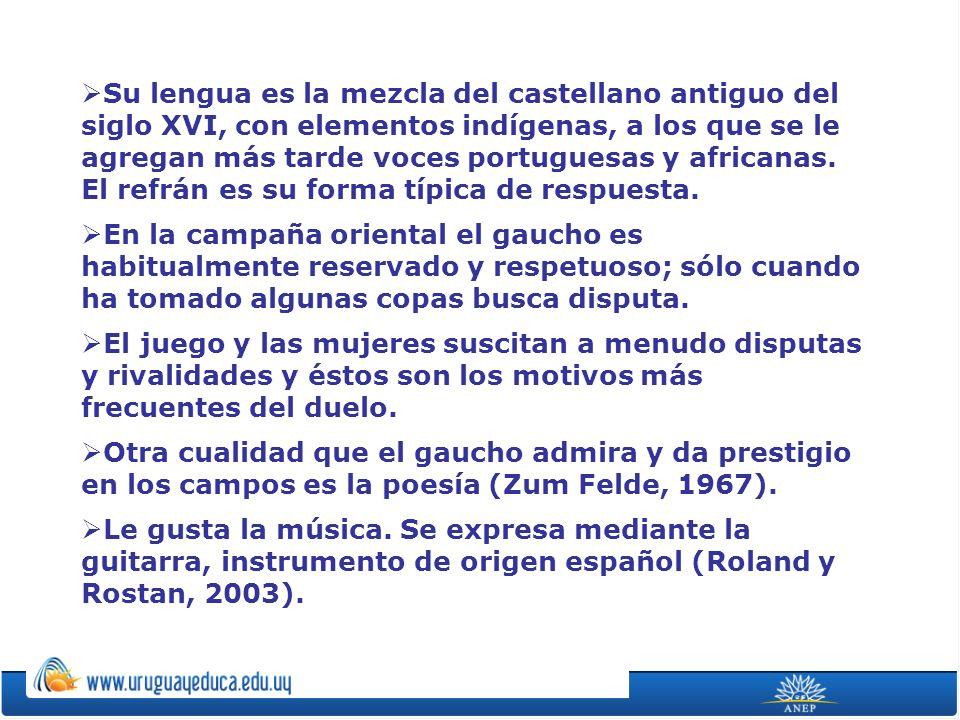 Su lengua es la mezcla del castellano antiguo del siglo XVI, con elementos indígenas, a los que se le agregan más tarde voces portuguesas y africanas. El refrán es su forma típica de respuesta.