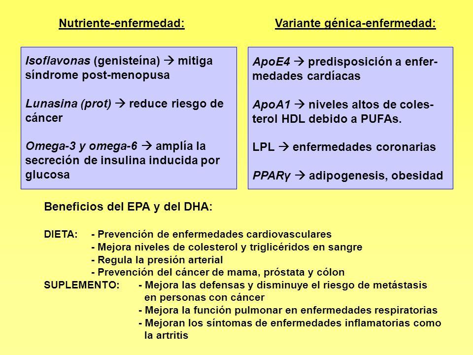 Nutriente-enfermedad: Variante génica-enfermedad: